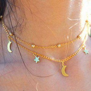 New gold Moon & Stars Crystal 2 Strands Choker